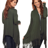 Irregular tassel knit cardigan B0015611