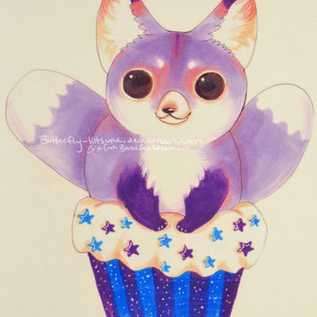 "Foxy Cupcake Print Fox Valentine's Day Birthday card Wall Art 6""x4"""