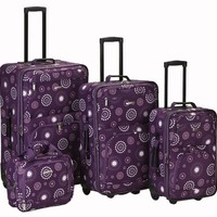 Rockland Luggage Brown Leaf 4 Piece Luggage Set, Purple Pearl, One Size
