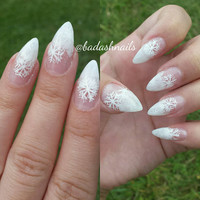 Clear fake nails - snowflake nails - winter nails