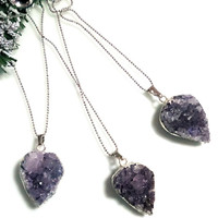 Trend druzy jewelry gift woman druzy amethyst necklace raw amethyst Necklace raw crystal amethyst pendant silver druzy amethyst LAST 2