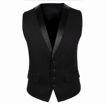 Black Men Suit Vest Four Buttons Grey Men's Fashion Wedding Waistcoat Single Breasted Mens Sleeveless Jacket