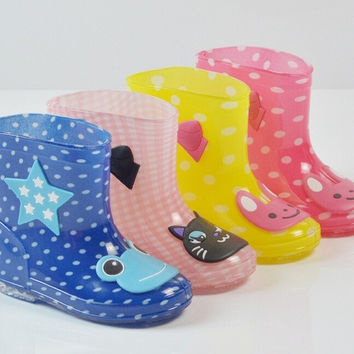 Fashion baby Kids Children Rain Boots candy color Cartoon Crystal transparent rain boots wellies rubber rain boots waterproof shoes outdoor shoes Anti-slip boots Unisex boots four Season shoes  4 colors (Size 24~28 ) = 1958549444