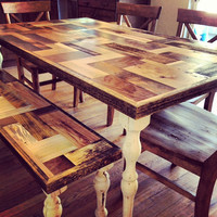 Handmade Farmhouse dining table with Patchwork wooden top