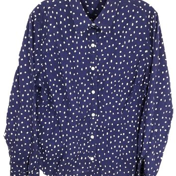 J. McLaughlin Button Down Shirt Blouse Blue White Polka Dots Fitted Womens 14 - Preowned