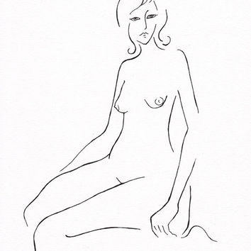 Minimalist drawing. Black and white nude figure. Original artwork. A4 8.3 x 11.7''. Great for gallery wall art. For bedroom.