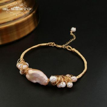 GLSEEVO Natural Fresh Water Baroque Pearl Bracelets  For Women Wedding Gifts Adjustable Bracelets & Bangle Fine Jewelry GB0053
