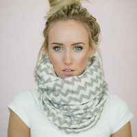 Chevron Scarf Knitted Infinity Grey and White Chevron Scarf Women's Fashion Accessories (SCF-48)