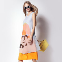 White and Yellow Face Print Sleeveless Dress