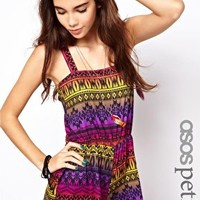 ASOS PETITE Exclusive Playsuit In Aztec Print at asos.com