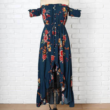 Navy Rose Print Off-the-Shoulder Dress-FINAL SALE