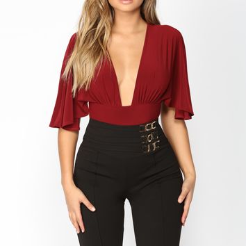 Current Mood Bat Sleeve Bodysuit - Burgundy