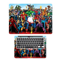 "Comic Superheros Family Top+ Keyboard Skin Laptop Sticker for Apple MacBook Air Pro Retina 11"" 12"" 13"" 15""  Vinyl Notebook Decal"