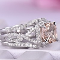 Cushion Morganite Engagement Ring Sets Diamond Guard Ring 14K White Gold 8mm