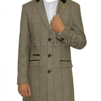 Mens Designer Checkered Grey Tweed Vintage Long Coat Blazer