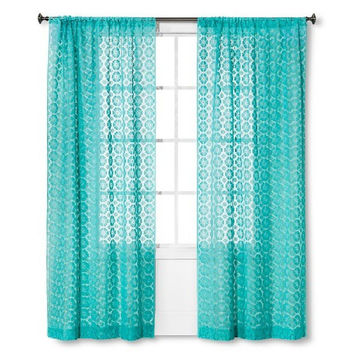 "Xhilaration Sheer Curtain Panel Crochet Shell - Sunbleached Turq (84"")"