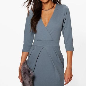 Erin Wrap Over Tailored Dress | Boohoo