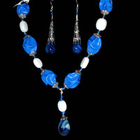 AA Grade Lapis Lazuli Tear Drop Gemstone and Sterling Silver Beaded Necklace