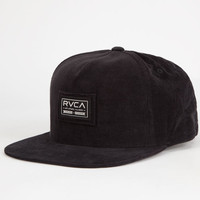 Rvca Nova Cord Mens Snapback Hat Black One Size For Men 26709110001