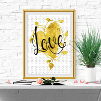 Love sign Gold and black wall decor Love print Valentines print Love printable Gold heart print LARGE Heart printable Gold heart DOWNLOD