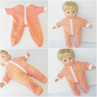 "15 INCH DOLL Clothes, American Doll, Handmade Clothes, fits 15"" bitty baby, orange pajamas"