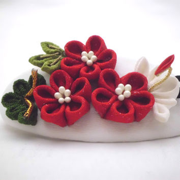 Pine bamboo plum blossom red white French barrette, kanzashi inspired made of vintage kimono and chirimen, fabric flower hair clip, ooak
