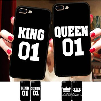 Cool Minason BFF King Queen 01 Couple Matching Case Cover For iPhone X 8 5S XR XS Max 6 6S 7 Plus Best Friends Silicone Phone CoqueAT_93_12