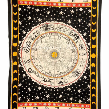 Sun and Moon Tapestry Wall Tapestry Indian Bedding Cotton Tapestries Mandala Hippie Art 2215