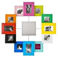 Present Time Photo Frame Clock Family Time, Multicolor