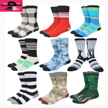 Brand Foreign Trade Surplus Novelty Socks Men Combed Cotton Terry Calcetines Deporte Tie-dye Camo Qualited Personal Sox
