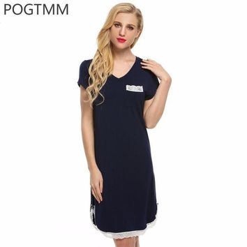 DCCKFV3 POGTMM Sexy Home Wear Sleep Dress Cotton Nightgown Women Lace Trimmed Short Sleeve Nightwear Female Sleepwear Nightdress L15
