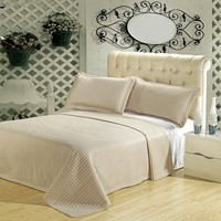 Luxury Linen ( Beige) Checkered Quilted Wrinkle Free Microfiber 3 Piece Coverlets Set