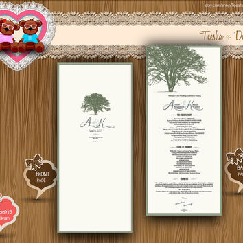 Custom Wedding Program Rustic chic wedding under oak tree green Typography style typographic theme card clipart - DIY printable file (w0051)
