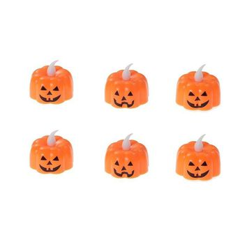 6PCS Pumpkin Light Electronic Battery-operated Flameless Flickering LED Pumpkin Light Flames Candles for Halloween Party Home