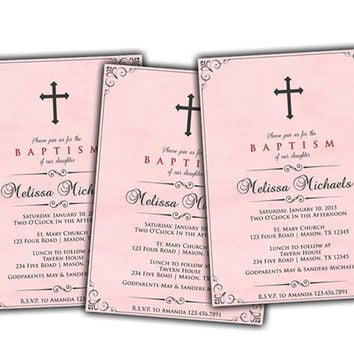 Rose Pink Watercolor Baptism Invitation for Girl - Girl Baptism Invitations - Christening Invitation - Spanish - Vintage - Antique - Cross
