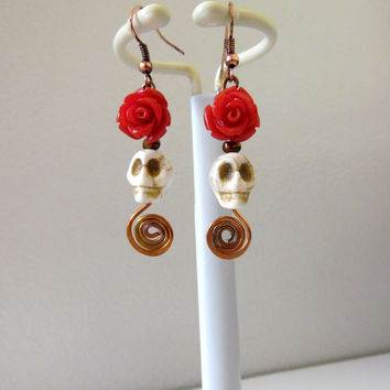 Day Of The Dead Earrings Sugar Skull Jewelry White Red Roses Copper Swirls