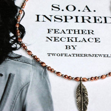 SOA Inspired Feather Necklace - Copper And Silver - Sons Of Anarchy - Tara Necklace - Gift For Her - Biker Jewelry - Copper Necklace