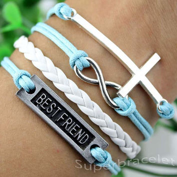 Light blue leather cord bracelet - best friend - unique infinity bracelet - the cross bracelet - present for girlfriend and BFF