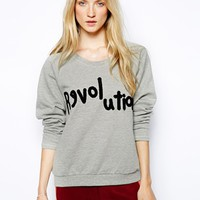 Selected Lovely Sweatshirt with Revolution Logo - Gray melange