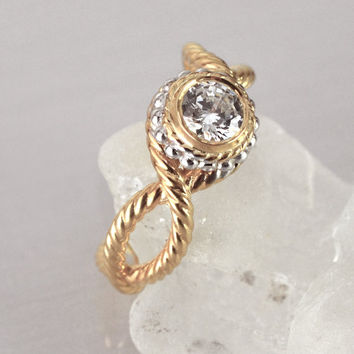 Twisted Rope Engagement Ring, Vintage Engagement Ring, Bezel Setting Ring, Unique Engagement Ring, Antique Style Engagement ring, Half Carat