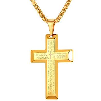 SHIP BY USPS: U7 Jewelry Men's Stainless Steel Simple Black Cross Pendant Lord's Prayer Necklace 22 Inch