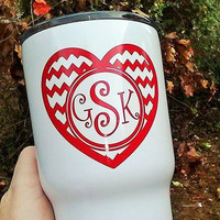 Heart monogram, Valentine heart, Pattern decal, Sticker for cup, Red heart sticker, Valentine gift, Preppy monogram