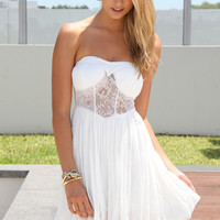 White Strapless Dress with Lace Panel Top&Pleated Skirt