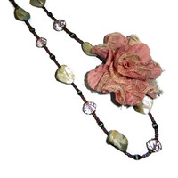 Rose Floral and Shell Beaded Necklace