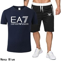 Armani Fashion Men Casual Print Short Sleeve Top Shorts Set Two Piece Sportswear Navy Blue