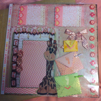 Pre made baby scrapbook page. Giraffe theme baby shower 12x12 page