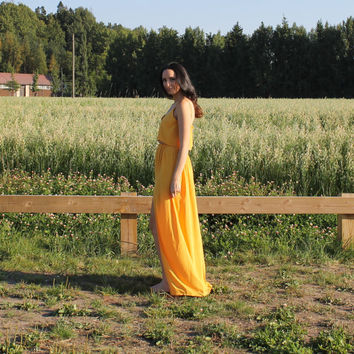 crop top and skirt set, crop top dress, top and skirt, maxi dress, maxi skirt, yellow dress, maxi skirt with slit, dress.