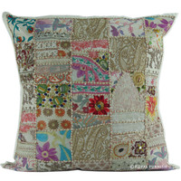 "24"" Large White Indian Vintage Patchwork Throw Cushion Cover Decor Art"