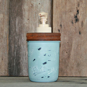 Mason Jar Soap Dispenser - Annie Sloan Chalk Paint Duck Egg Blue - Rustic, Country, Shabby Chic, Farmhouse, Vintage Style