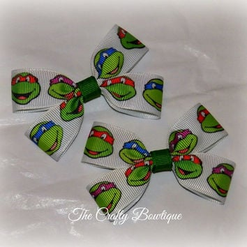 Ninja Turtles ~ Clippie Pigtail Hair Bow Set ~ Green and White ~ Toddler Hair Bow ~ Boutique Hair Bow ~ Small Hair Bows ~ Baby Hair Bows